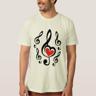 Illustration Clef Love Music T-Shirt