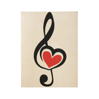 Illustration Clef Love Music Wood Poster