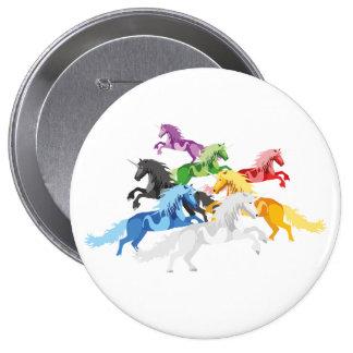 Illustration colorful wild Unicorns 10 Cm Round Badge