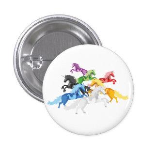 Illustration colorful wild Unicorns 3 Cm Round Badge