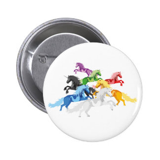 Illustration colorful wild Unicorns 6 Cm Round Badge