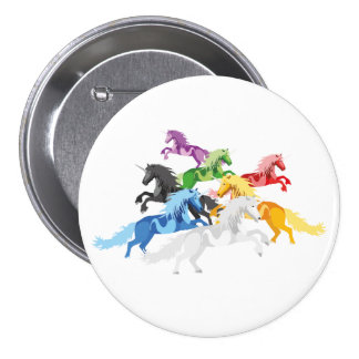 Illustration colorful wild Unicorns 7.5 Cm Round Badge