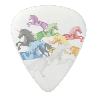 Illustration colorful wild Unicorns Acetal Guitar Pick