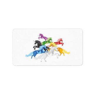 Illustration colorful wild Unicorns Address Label