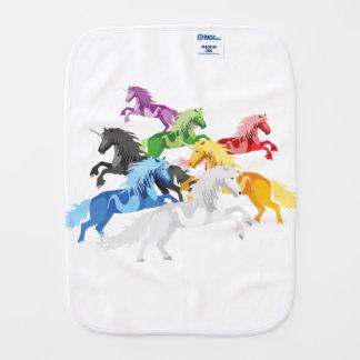 Illustration colorful wild Unicorns Burp Cloth