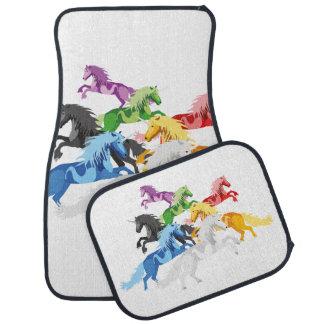Illustration colorful wild Unicorns Car Mat