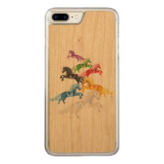 Illustration colorful wild Unicorns Carved iPhone 8 Plus/7 Plus Case