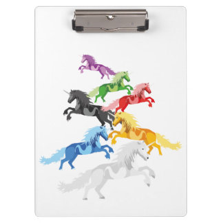 Illustration colorful wild Unicorns Clipboard
