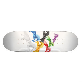 Illustration colorful wild Unicorns Custom Skate Board