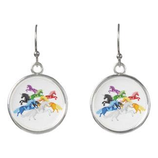 Illustration colorful wild Unicorns Earrings