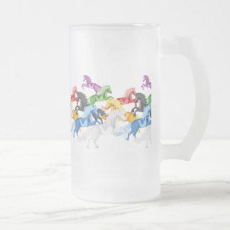 Illustration colorful wild Unicorns Frosted Glass Beer Mug