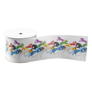 Illustration colorful wild Unicorns Grosgrain Ribbon