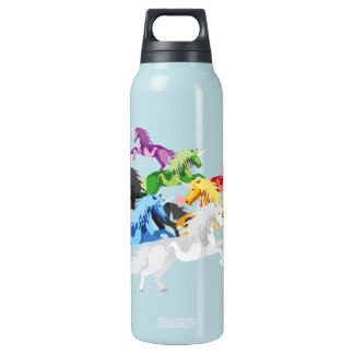 Illustration colorful wild Unicorns Insulated Water Bottle