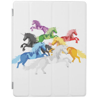 Illustration colorful wild Unicorns iPad Cover