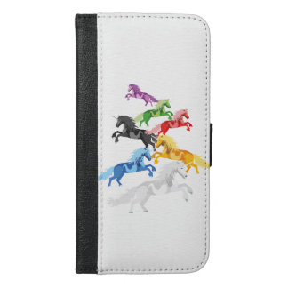 Illustration colorful wild Unicorns iPhone 6/6s Plus Wallet Case