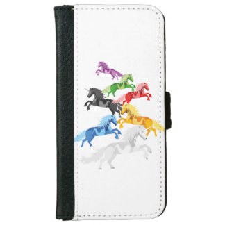 Illustration colorful wild Unicorns iPhone 6 Wallet Case
