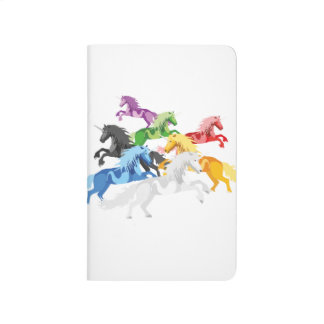Illustration colorful wild Unicorns Journal