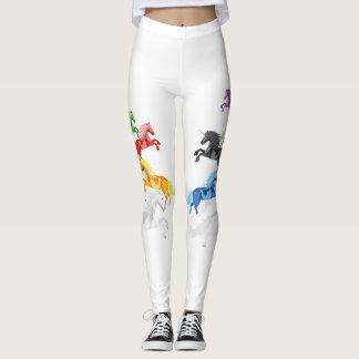 Illustration colorful wild Unicorns Leggings