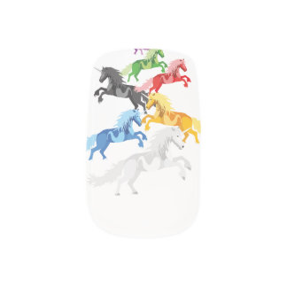 Illustration colorful wild Unicorns Minx Nail Art