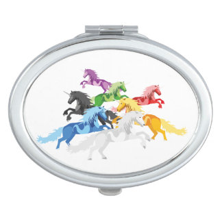 Illustration colorful wild Unicorns Mirrors For Makeup