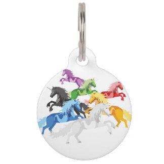 Illustration colorful wild Unicorns Pet Tag