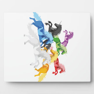 Illustration colorful wild Unicorns Plaque