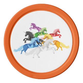 Illustration colorful wild Unicorns Poker Chips