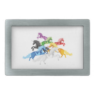 Illustration colorful wild Unicorns Rectangular Belt Buckles