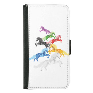Illustration colorful wild Unicorns Samsung Galaxy S5 Wallet Case