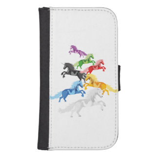 Illustration colorful wild Unicorns Samsung S4 Wallet Case