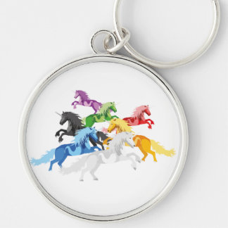 Illustration colorful wild Unicorns Silver-Colored Round Key Ring