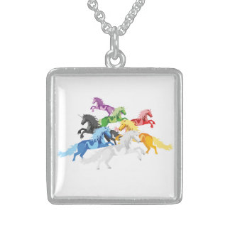 Illustration colorful wild Unicorns Sterling Silver Necklace