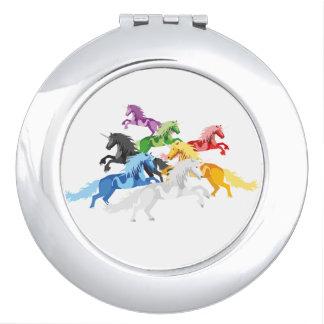 Illustration colorful wild Unicorns Travel Mirrors
