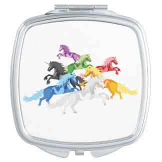 Illustration colorful wild Unicorns Vanity Mirrors