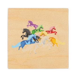Illustration colorful wild Unicorns Wood Coaster