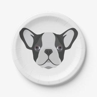 Illustration cute French Bulldog Paper Plate