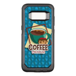 Illustration delicious cup of coffee with a muffin OtterBox commuter samsung galaxy s8 case