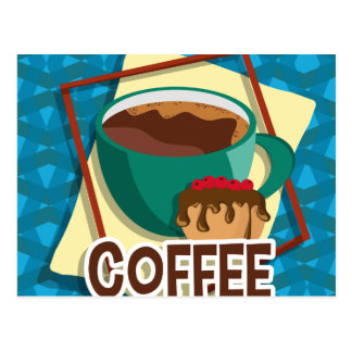 Illustration delicious cup of coffee with a muffin postcard