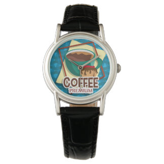 Illustration delicious cup of coffee with a muffin wristwatches