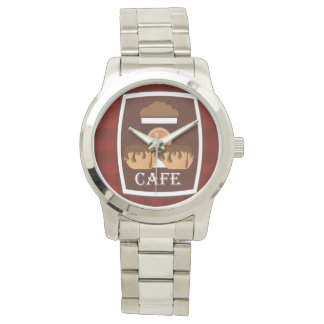 Illustration delicious cup of coffee wrist watch