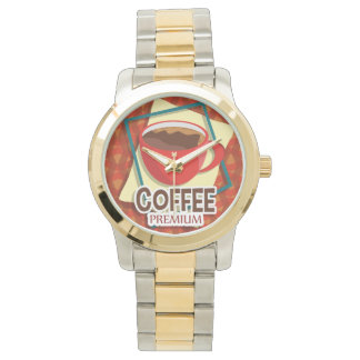 Illustration delicious cup of coffee wrist watches
