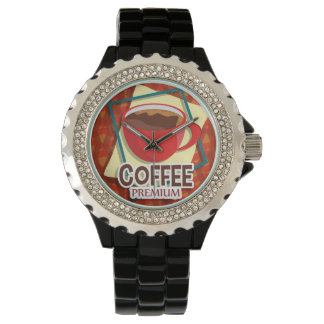 Illustration delicious cup of coffee wristwatch