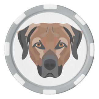 Illustration Dog Brown Labrador Poker Chips