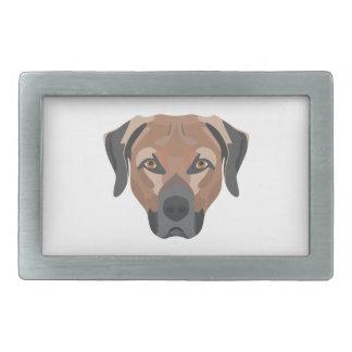 Illustration Dog Brown Labrador Rectangular Belt Buckle