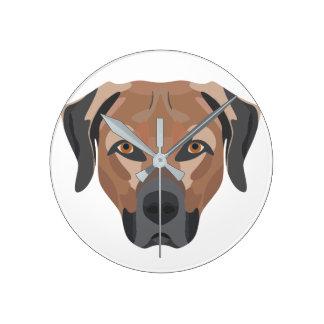 Illustration Dog Brown Labrador Round Clock