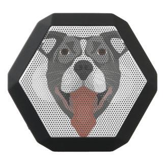 Illustration Dog Smiling Pitbull Black Bluetooth Speaker