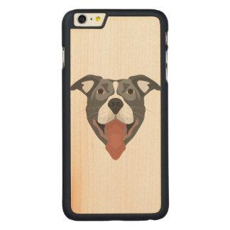 Illustration Dog Smiling Pitbull Carved Maple iPhone 6 Plus Case