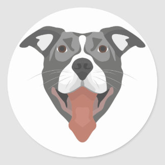 Illustration Dog Smiling Pitbull Classic Round Sticker