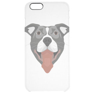 Illustration Dog Smiling Pitbull Clear iPhone 6 Plus Case