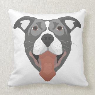 Illustration Dog Smiling Pitbull Cushion